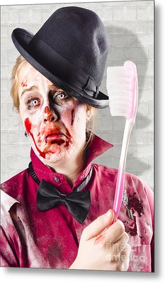 Zombie With Big Toothbrush. Fear Of The Dentist Metal Print