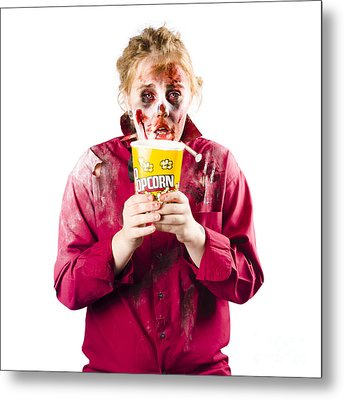 Zombie Woman With Popcorn Metal Print by Jorgo Photography - Wall Art Gallery