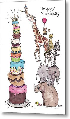 Zoo Animals Happy Birthday Card Metal Print