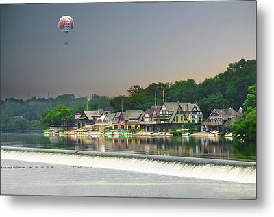 Metal Print featuring the photograph Zoo Balloon Flying Over Boathouse Row by Bill Cannon