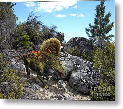 Zuniceratops Among Rocks Metal Print