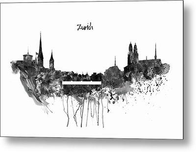 Zurich Black And White Skyline Metal Print by Marian Voicu