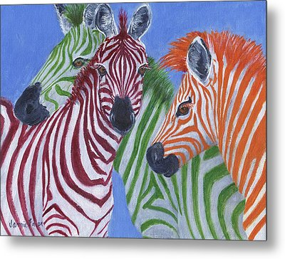 Metal Print featuring the painting Zzzebras by Jamie Frier