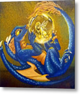 Dragon And Captured Fairy Metal Print by Mary Hoy