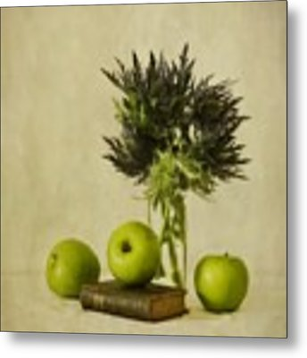 Green Apples And Blue Thistles Metal Print