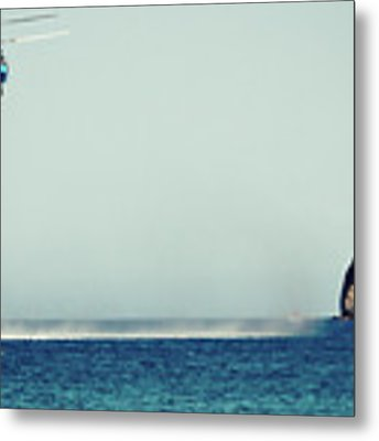 Helicopter Firefighter Take Water In The Sea Metal Print by Raimond Klavins