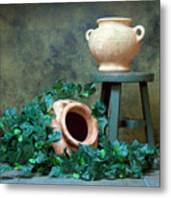 Pottery With Ivy I Metal Print by Tom Mc Nemar