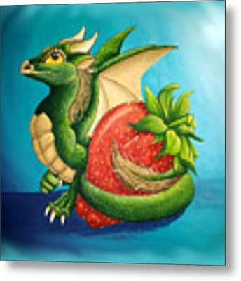 Strawberry Dragon Metal Print by Mary Hoy