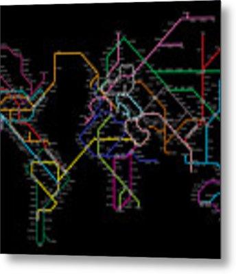 World Metro Map Metal Print