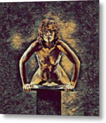1032s-zac Fit Black Woman On Platform In The Style Of Antonio Bravo Metal Print by Chris Maher