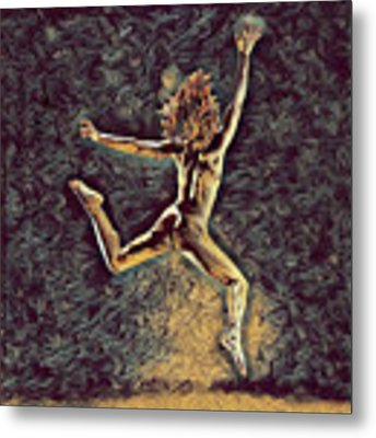 1307s-dancer Leap Fit Black Woman Bare And Free Metal Print by Chris Maher
