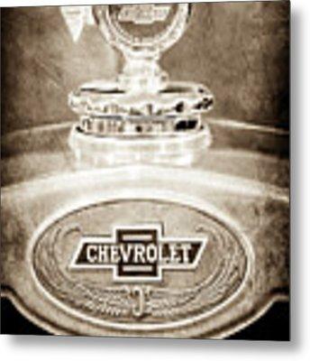 1928 Chevrolet 2 Door Coupe Hood Ornament Moto Meter -0789s Metal Print by Jill Reger