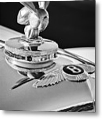 1954 Bentley R-type Hood Ornament -0493bw Metal Print by Jill Reger