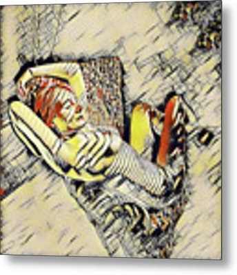 4248s-jg Zebra Striped Woman In Armchair By Window Erotica In The Style Of Kandinsky Metal Print by Chris Maher