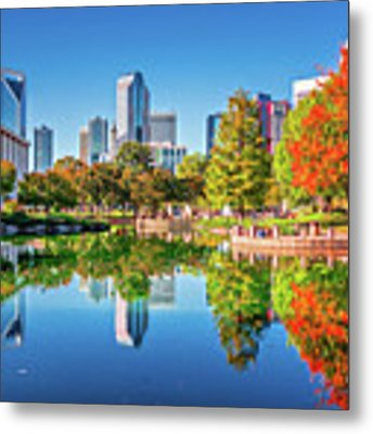 Charlotte City Skyline From Marshall Park Autumn Season With Blu Metal Print by Alex Grichenko