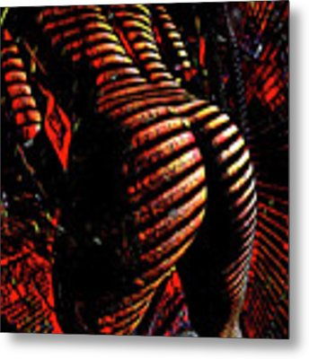 6799s-nlj Zebra Striped Nude Booty By Window Rendered As Abstract Oil In Reds Metal Print by Chris Maher