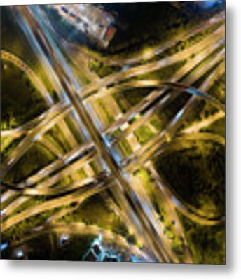 Aerial View Of Traffic Jams At Nonthaburi Intersection In The Evening, Bangkok. Metal Print by Pradeep Raja PRINTS