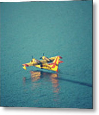 Aircraft Firefighter Take Water In The Sea Metal Print by Raimond Klavins
