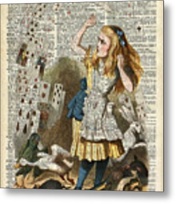 Alice In The Wonderland On A Vintage Dictionary Book Page Metal Print