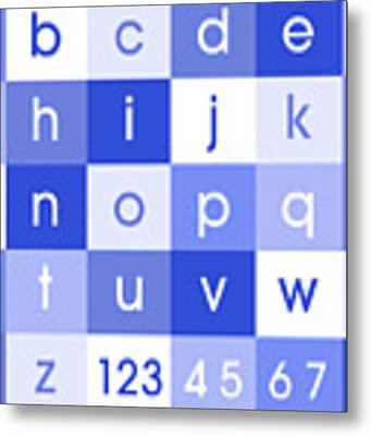 Alphabet Blue Metal Print