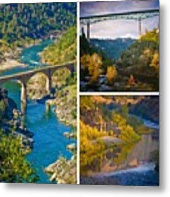 American River Triptych 3 Metal Print by Sherri Meyer