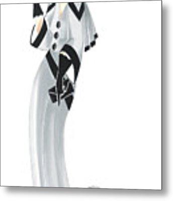 Art Deco Lady - Margaret And Snowflake Metal Print by Di Kaye