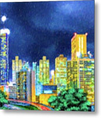 Atlanta Skyline At Night Metal Print by Mark Tisdale