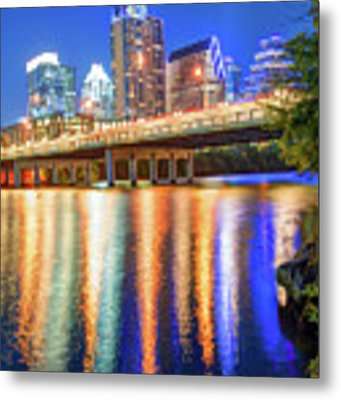 Austin Texas Skyline Night Reflections Metal Print by Gregory Ballos