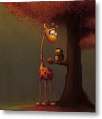 Autumn Giraffe Metal Print