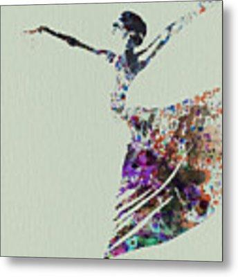 Ballerina Dancing Watercolor Metal Print