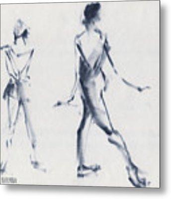 Ballet Sketch Tendu Back Metal Print by Beverly Brown