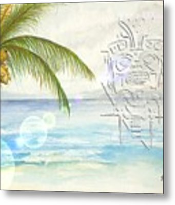 Beach Etching Metal Print by Darren Cannell