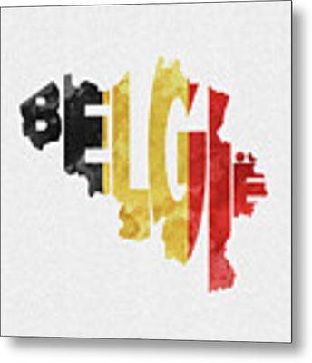 Belgium Typographic Map Flag Metal Print by Inspirowl Design
