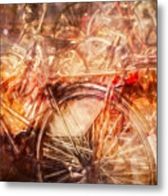 Bicycles In Amsterdam Metal Print by Richard Anderson