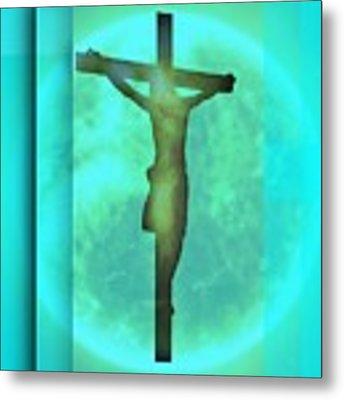 Blue Environment Crucifixion Metal Print by Alberto RuiZ