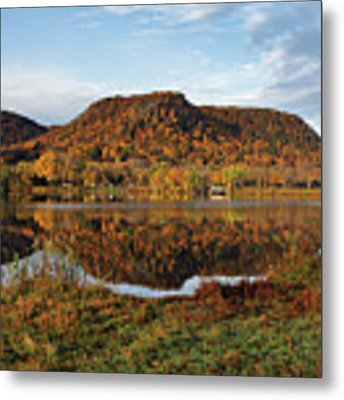 Bluff Reflection And Shoreline Agree In Winona Minnesota Metal Print by Kari Yearous