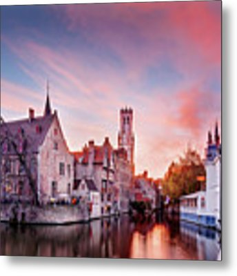 Bruges Sunset Metal Print by Barry O Carroll
