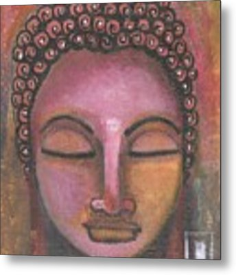 Buddha In Shades Of Purple Metal Print by Prerna Poojara