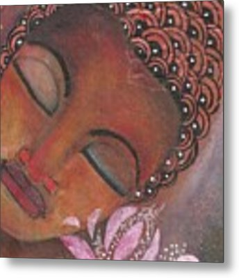 Buddha With Pink Lotus Metal Print by Prerna Poojara