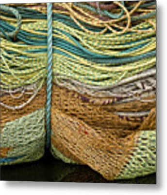 Bundle Of Fishing Nets And Ropes Metal Print by Carol Leigh