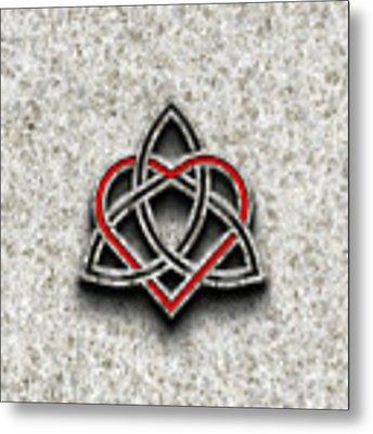 Celtic Knotwork Valentine Heart Bone Texture Metal Print by Brian Carson