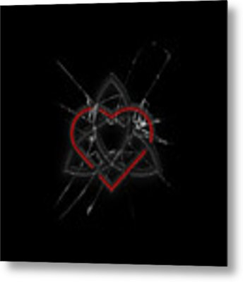 Celtic Knotwork Valentine Heart Broken Glass 1 Metal Print by Brian Carson