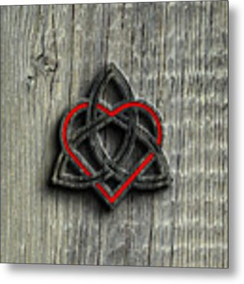 Celtic Knotwork Valentine Heart Wood Texture 2 Metal Print by Brian Carson