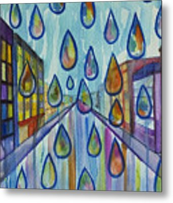 City Rain Metal Print by Angelique Bowman