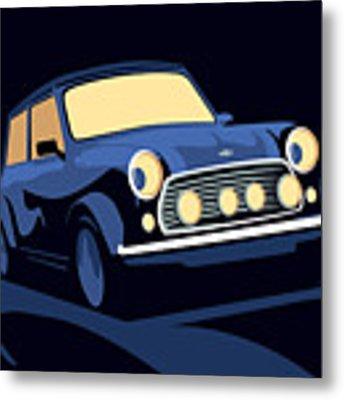 Classic Mini Cooper In Blue Metal Print