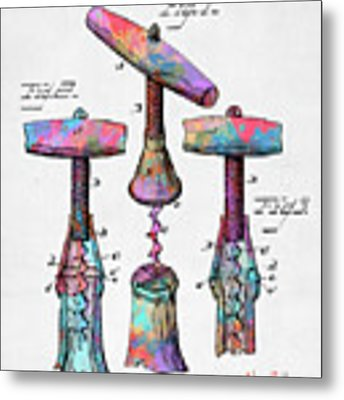 Colorful 1883 Wine Corckscrew Patent Metal Print by Nikki Marie Smith