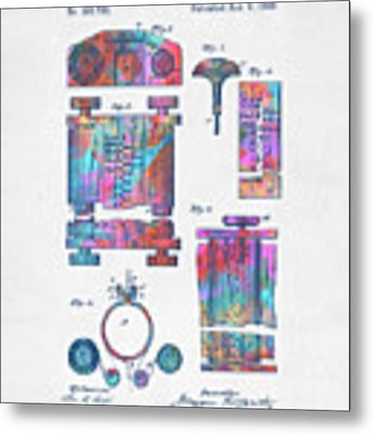 Colorful 1889 First Computer Patent Metal Print by Nikki Marie Smith