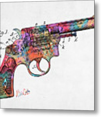 Colorful 1896 Wesson Revolver Patent Metal Print by Nikki Marie Smith