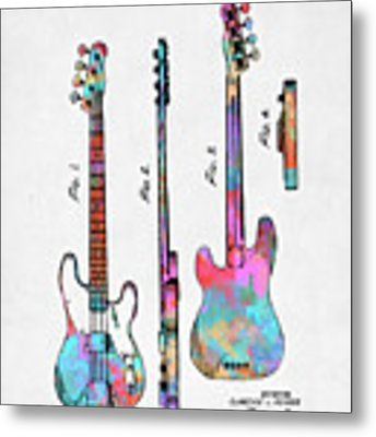 Colorful 1953 Fender Bass Guitar Patent Artwork Metal Print by Nikki Marie Smith