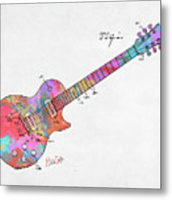 Colorful 1955 Mccarty Gibson Les Paul Guitar Patent Artwork Mini Metal Print by Nikki Marie Smith